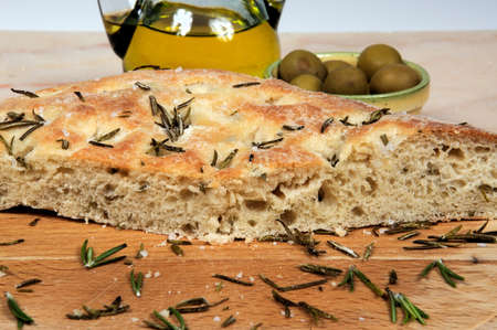 Freshly cooked Italian rosemary Focaccia bread  Stock Photo