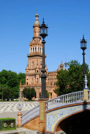 Footbridge and tower in the Plaza de Espana, Seville, Seville Province, Andalucia, Spain, Western Europe  Stock Photo - 13856061