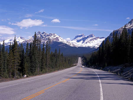 View along Highway 93, The Icefields Parkway, Alberta, Canada  Stock Photo