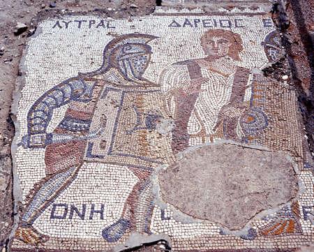 Mozaïek van de Gladiator Lytras in het huis van de Gladiatoren, Kourion, Cyprus