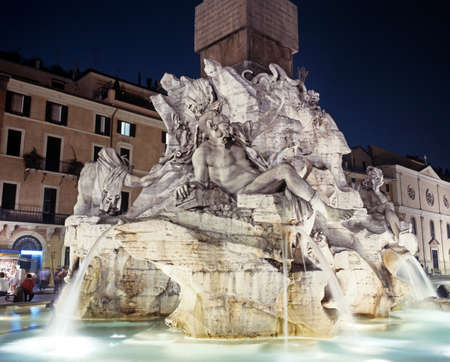 Fountain of the four rivers at night, Piazza Navona, Rome, Lazio, Italy, Europe  photo