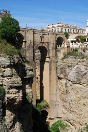 New bridge  Puente Nuevo  viewed from West, Ronda, Malaga Province, Andalucia, Spain, Western Europe  Stock Photo - 13964202