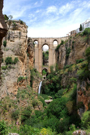 New bridge  Puente Nuevo  seen from within the gorge, Ronda, Malaga Province, Andalucia, Spain, Western Europe  photo