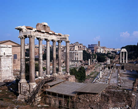 Ruins of the Roman Forum with the temple of Saturn in the foreground, Rome, Italy, Europe  photo