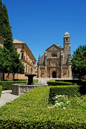 The Sacred Chapel of El Salvador  Capilla del Salvador  and the Plaza de Vazquez de Molina with fountain in foreground, Ubeda, Jaen Province, Andalusia, Spain, Western Europe  Stock Photo