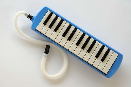 Blue and white Pianica blow-organ