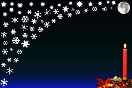 edging: Red Christmas candle against the night sky with the moon, stars and snowflakes