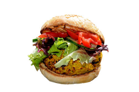 vegetarian hamburger: Veggie burger on a sesame seed bun Stock Photo