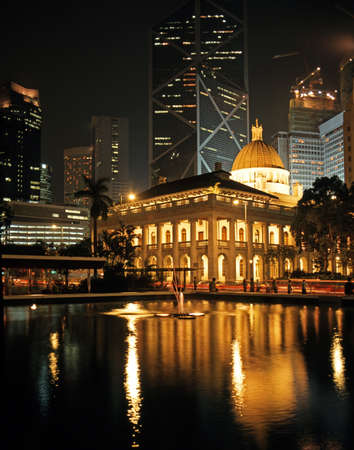 the council: The Council building in Statue Square at night, Honk Kong Island, Hong Kong