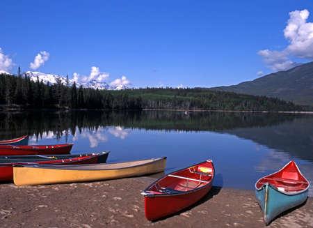 Canoes on the edge of Pyramid Lake, Jasper National Park, Alberta, Canada Stock Photo - 15468968