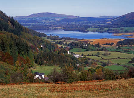 Bassenthwaite Lake surrounded by rolling hills and fields, and whitewashed houses, Bassenthwaite, Lake District, Cumbria, England, UK, Western Europe Stock Photo - 15835931