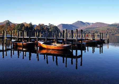moorings: Rowing boats and moorings on Derwent Water, Keswick, Cumbria, England, UK, Western Europe  Stock Photo