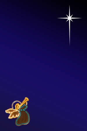 Angel blowing trumpet looking towards the Star of  Bethlehem  Stock Photo
