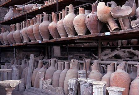 artefacts: Pots in storage, Pompeii, Nr  Naples, Campania, Italy, Europe Stock Photo