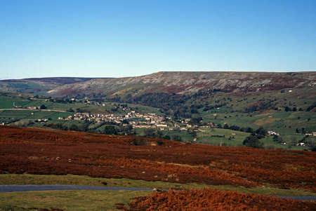 View of Reeth and Harkerside Moor, Swaledale, Yorkshire Dales, North Yorkshire, England, UK, Great Britain, Western Europe Stock Photo - 16104329
