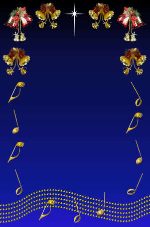 Christmas bells with musical stave and notes against a blue background with copy space  photo