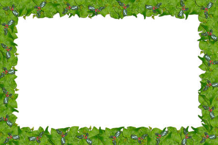 ivy: Christmas holly and ivy page border. Stock Photo