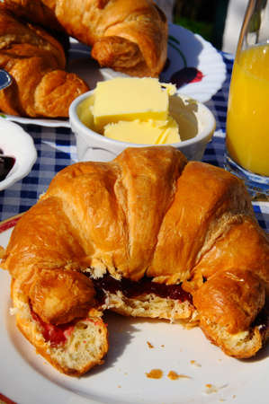 Croissants with raspberry jam and orange juice, Andalucia, Spain, Western Europe