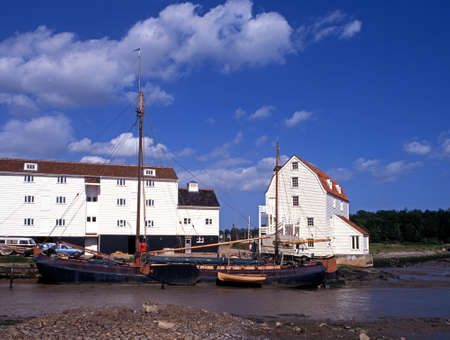 suffolk: Tide Mill, quayside and boats, Woodbridge, Suffolk, England, Western Europe