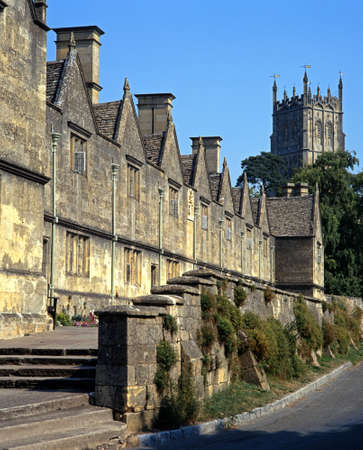 almshouse: St  James Church Tower and Almshouses, Chipping Campden, Gloucestershire, England, Western Europe