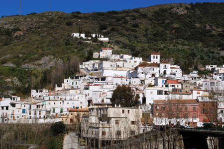 View of whitewashed village  pueblo blanco , Torvizcon, Las Alpujarras, Granada Province, Andalucia, Spain, Western Europe  photo