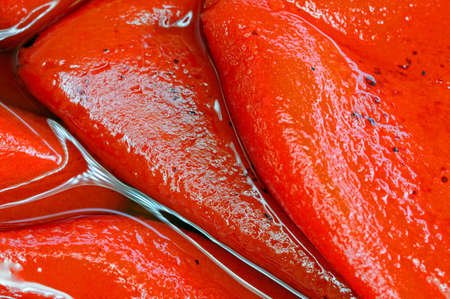 lena: Roasted red peppers in oil, Andalusia, Spain, Western Europe  Stock Photo