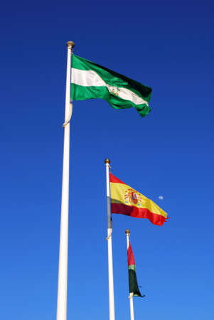 flagpoles: Three flagpoles, Malaga Province, Andalusia, Spain, Western Europe
