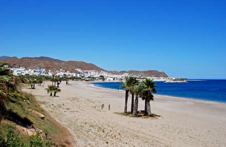 View along the beach and coastline, Carboneras, Almeria Province, Costa Almeria, Andalusia, Spain, Western Europe
