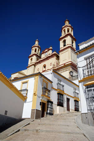 Steep village street leading to the Church  Parish of Our Lady of the Incarnation , Olvera, Cadiz Province, Andalusia, Spain, Western Europe Stock Photo - 18427457