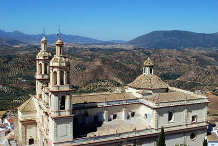 Elevated view of the (Parish of Our Lady of the Incarnation) and surrounding countryside, Olvera, Cadiz Province, Andalusia, Spain, Western Europe. Stock Photo - 18459763