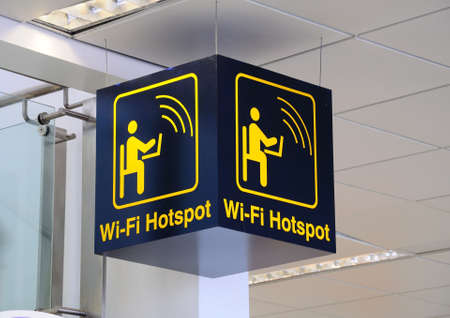 Wi-fi Hotspot sign, East Midlands Airport, Leicestershire, UK, Western Europe.