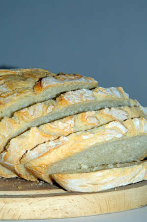 bloomer: Freshly cooked rustic white bread sliced