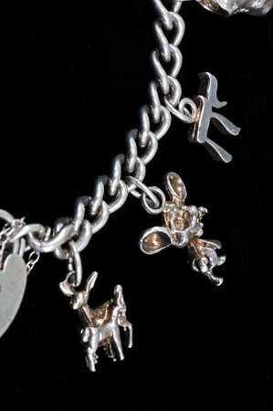 Sterling silver charm bracelet, Costa del Sol, Malaga Province, Andalucia, Spain, Western Europe