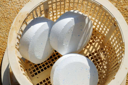 Pool chlorine tablets in basket, Costa del Sol, Andalucia, Spain, Western Europe