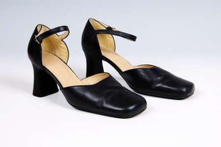 frac12: Pair of black leather women�s shoes