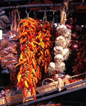 Roadside stall selling dried chillis and other spices, near Amalfi, Campania, Italy, Europe  photo