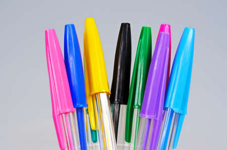 writing implements: Coloured ballpoint pens, England, UK, Western Europe