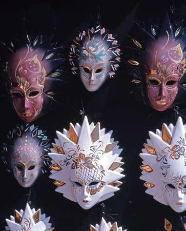 mementos: Display of Venetian Glass Masks, St  Marks Square, Venice, Veneto, Italy