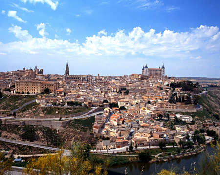 View across the Tajo gorge and river of Toledo, Castille La Mancha, Spain, Western Europe  photo