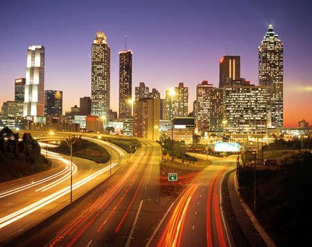 Stad Skline in de schemering, Altanta, Georgia, USA Stockfoto