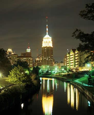 San Antonio River featuring the Tower Life Building at night, San Antonio, Texas, USA