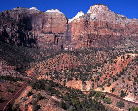 Towers of the Virgin mountains, Zion National Park, Utah, USA  photo