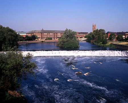 River Derwent with view to the council houses and Cathedral, Derby, Derbyshire, England, UK, Western Europe  Stock Photo
