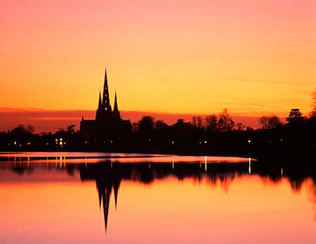 Stowe pool at sunset with the cathedral and it