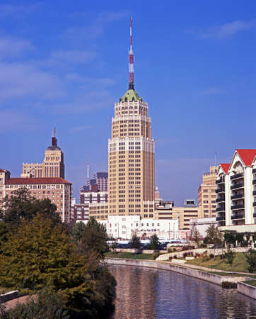 San Antonio River featuring the Tower Life Building, The Alamo, San Antonio, Texas, USA
