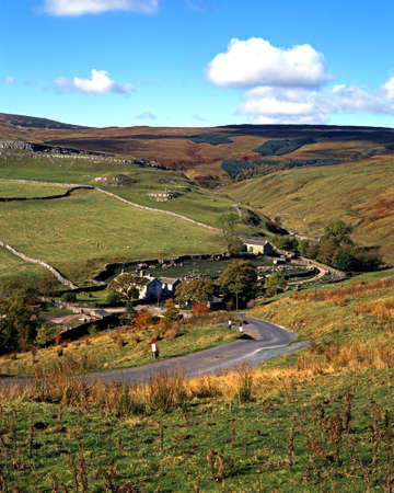 View across farmland and fell, Darnbrook, Yorkshire Dales, North Yorkshire, England, UK, Great Britain, Western Europe  photo