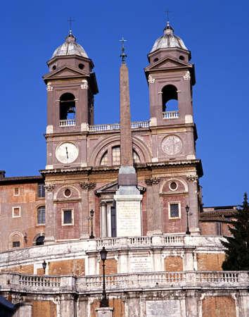 Santissima Trinita dei Monti church at the top of the Spanish steps, Rome, Lazio, Italy, Europe  photo