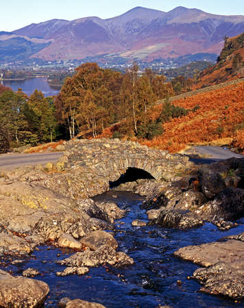 View of Ashness Bridge and Derwent Water, Borrodale, Near Keswick, Lake District, Cumbria, England, UK, Western Europe  photo
