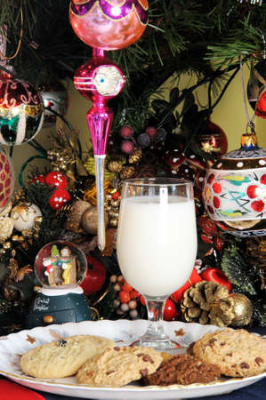 Milk and cookies under Christmas tree  photo