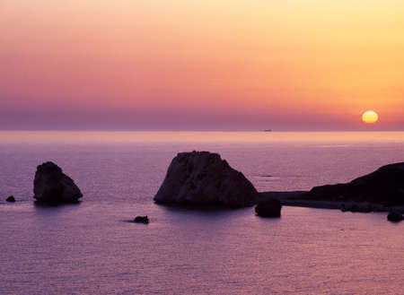 of petra: Aphrodite rock, Petra tou Romiou, Cyprus  Stock Photo